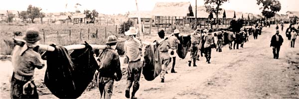 Soldiers marching on Bataan death march