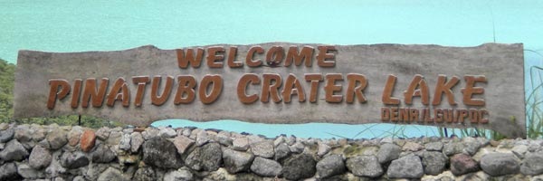 Welcome sign to Pinatubo crater lake